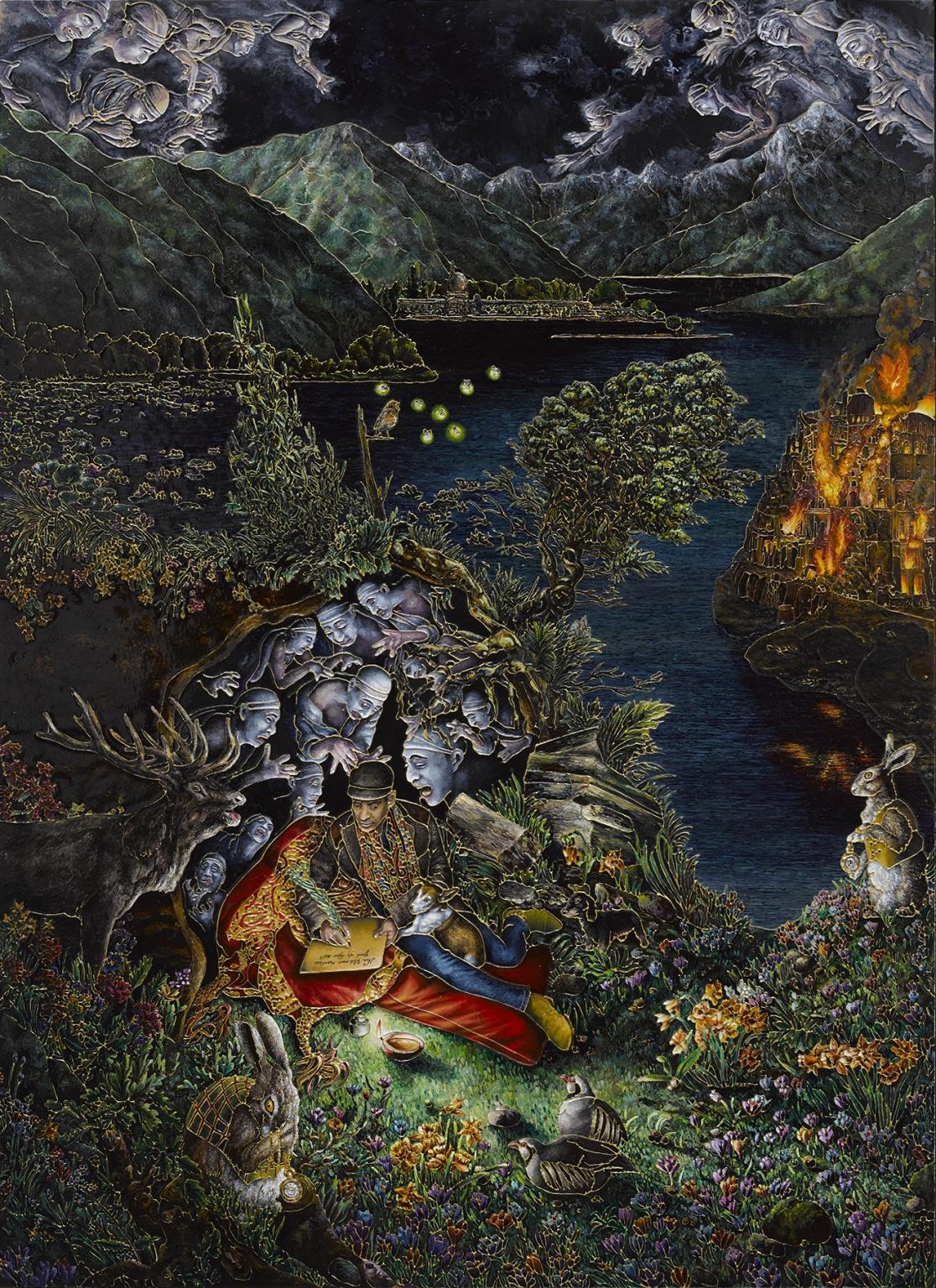 Indian artist Raqib Shaw, Compton Verney, England